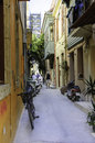 Backyard narrow street of chania tourists visiting the greece Stock Photography