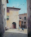 Backyard original oil painting of italian yard in tuscan village san gusme italy Stock Image