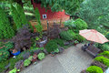 Backyard Patio Landscaping with Red Barn Overview Royalty Free Stock Photo