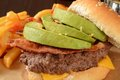 Bacon avocado burger closeup of a cheese with and Royalty Free Stock Photos