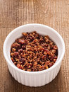 Bacon bits close up of a bowl of Royalty Free Stock Photos