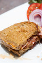 Bacon and cheese sandwich with vegetables Stock Images