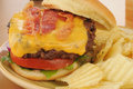 Bacon cheeseburger closeup Royalty Free Stock Image