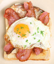 Bacon egg on toast breakfast and fried Stock Image