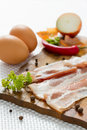 Bacon eggs and pepper. Royalty Free Stock Photography
