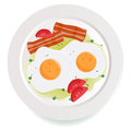 Bacon eggs and tomato dish a delicious of fried sliced served with parsley olive oil Royalty Free Stock Photos