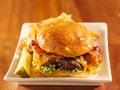 Bacon hamburger with cheese Stock Photo