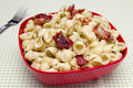 Bacon pea pasta with cream sauce Royalty Free Stock Photography