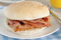 Bacon sandwich or butty selective focus on the Stock Photo