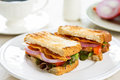 Bacon sandwich with tomato and lettuce Royalty Free Stock Photography