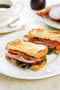 Bacon sandwich with tomato and lettuce Royalty Free Stock Images