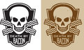 Bacon skull vector illustration of with crossed and the slogan death by includes clean and grunge versions Royalty Free Stock Images