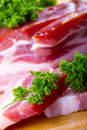 Bacon smoked with herb parsley Stock Images