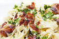 Bacon Tagliatelle Stock Photo
