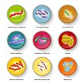 Bacteria icons set virus bio hazard microorganism allergens and microscopic cells vector illustration Royalty Free Stock Images