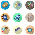 Bacteria, microorganism and virus cells icons set Royalty Free Stock Photo