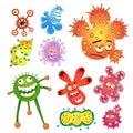 Bacteria and virus cartoon Royalty Free Stock Photo
