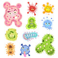 Bacteria and virus cartoon eps file simple gradients no effects no mesh no transparencies all in separate layer group for easy Stock Photos