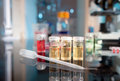 Bacterial culture samples liquid cultures on the bench shallow dof Stock Photography