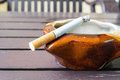 Bad addiction. Ashtray and cigarettes Royalty Free Stock Photo