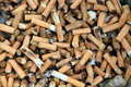 Bad addiction cigarette butts background Royalty Free Stock Photo
