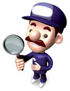 Bad check a Magnifying glass the service man Stock Photography