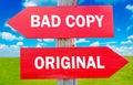 Bad copy or original way choice showing strategy change dilemmas Stock Image