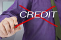 Bad credit businessman cross out on word Stock Photography