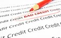 Bad credit text circled in red pencil Royalty Free Stock Photo