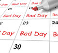 Bad day calendar shows rough or stressful time showing Stock Image