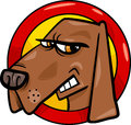Bad dog sign cartoon illustration of angry Royalty Free Stock Image