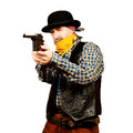 Bad guy robs bank on white square background Royalty Free Stock Photography