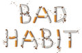Bad habit text made from broken cigarettes Stock Photos