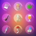 Bad habits flat vector icon set include beer alcohol pills i illustration of injector smoking pipe marijuana etc Stock Image