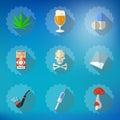 Bad habits flat vector icon set include beer alcohol pills i illustration of injector smoking pipe marijuana etc Royalty Free Stock Image