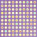 100 bad habits icons set in cartoon style