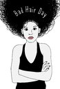 Bad Hair Day - sketch of a terrified woman Royalty Free Stock Photo