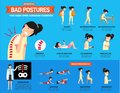 Bad postures that cause spine curvature disorders infographic Royalty Free Stock Photo