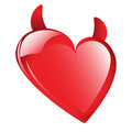 Bad red heart with red horns isolated against a white background Royalty Free Stock Photos