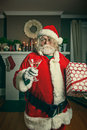 Bad santa getting wasted on christmas this just wants to party Royalty Free Stock Images