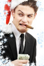 Bad santa with snowflakes Royalty Free Stock Images