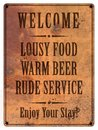 Bad Service Beer Food Man Cave Sign Grunge Royalty Free Stock Photo