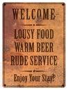 Bad Service Beer Food Man Cave Sign Grunge