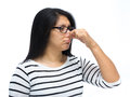Bad smell woman pinching nose caused by Royalty Free Stock Photo