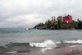 Bad weather over the  Marquette Harbor Lighthouse, Michigan, USA Royalty Free Stock Photo