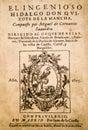 Title page of of Don Quixote novel by Miguel de Cervantes