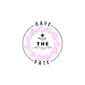 Badge as part of the design - Save the Date Sticker, stamp, logo - for design, hands made. With the use of floral