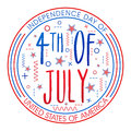Badge design for american independence day national flag color with stylish text th of july on grey background Royalty Free Stock Photo
