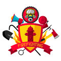 Badge with firefighting items. Fire protection equipment