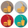 A badge of hamburger and cola. Food and drink, Badge in a flat design.